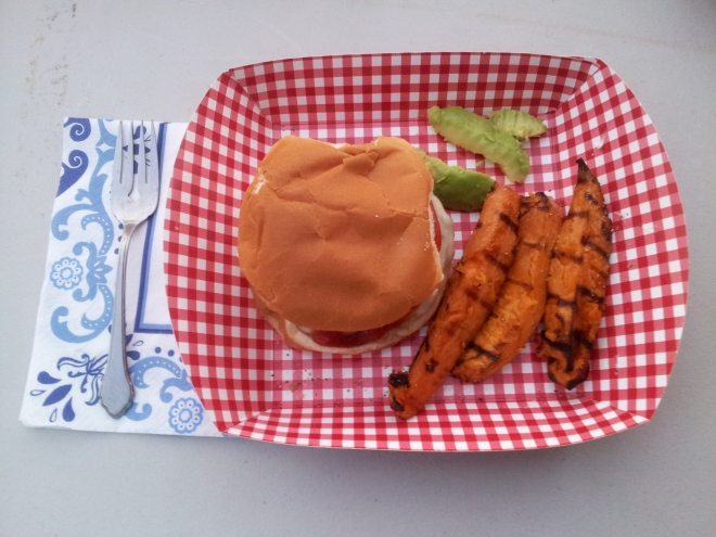 burgers and grilled sweet potato fries on the deck