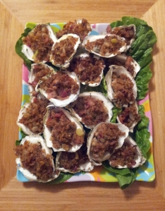 Baked Stuffed Oysters harvested in front of the house at low tide.