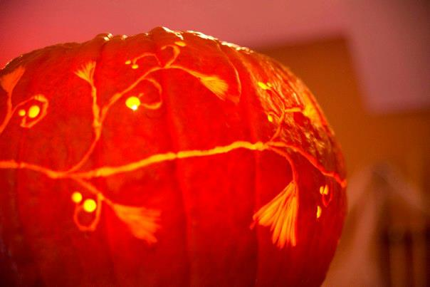 halloween carved design pumpkin