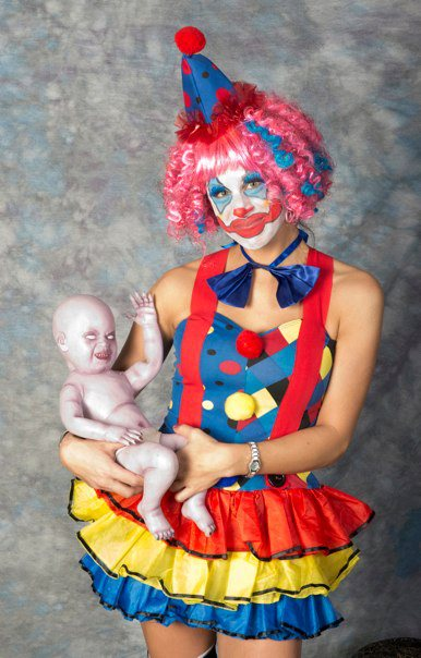 Halloween clown and scarey baby