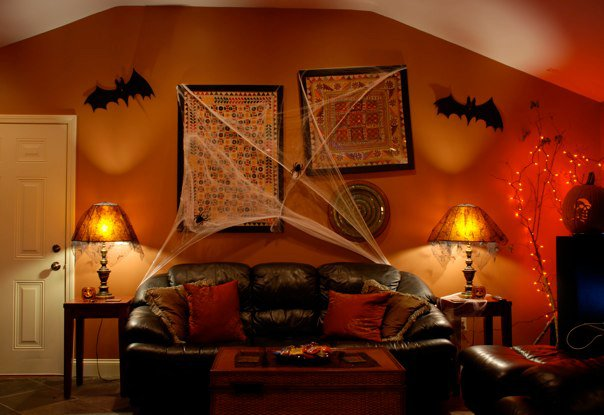 halloween couch with webs