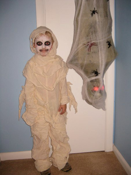 halloween mummy boy with cocoon