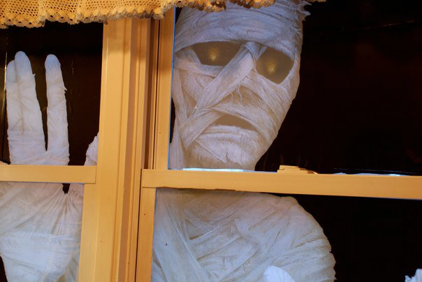 halloween mummy in the window