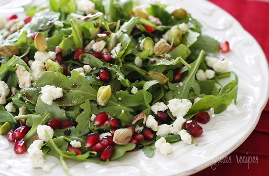 Take a look at that salad. It's simply arugula with pistachios ...