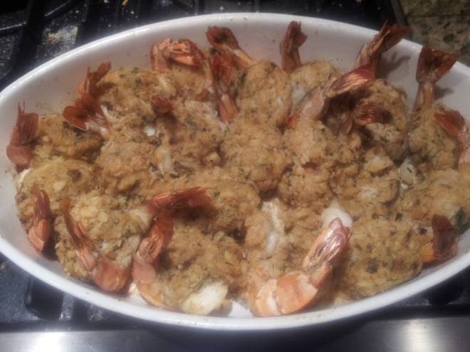 Baked Stuffed Shrimp Cooked