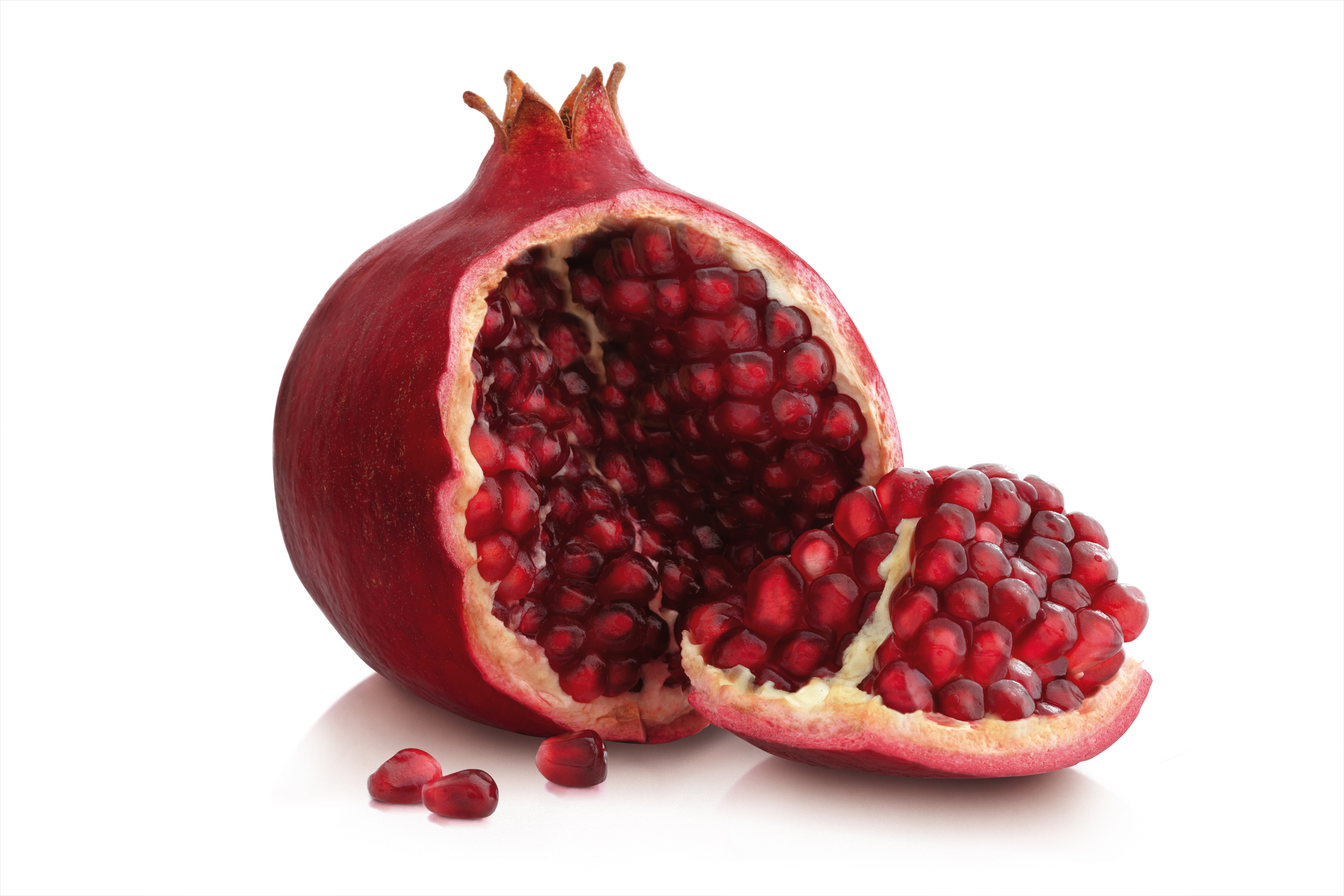pomegranate whole cut open