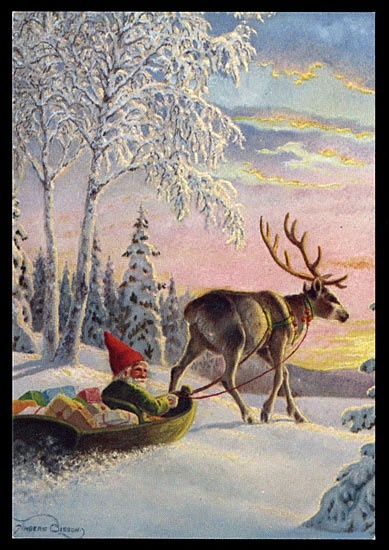 tomte in sleigh with reindeer