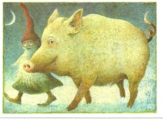 tomte with big pig