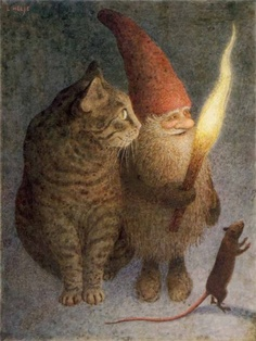 tomte with cat and mouse