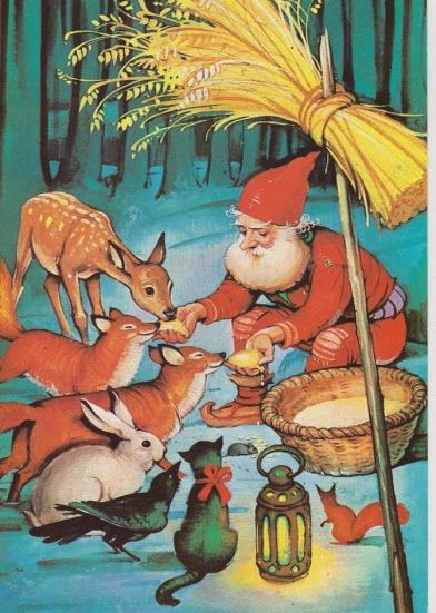 tomte with woodland animals
