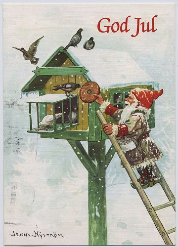 tomten feeding birds knackebrod