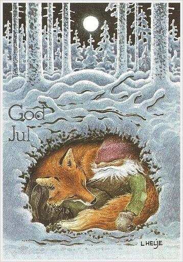 tomten in fox hole god jul