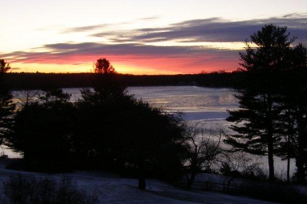 ice snow sunrise on lake