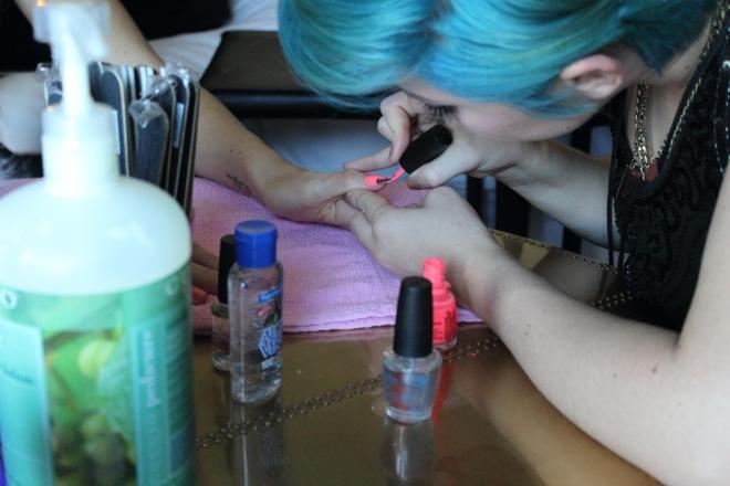 blue hair pink nails
