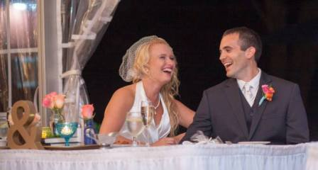 Sharon Gary sitting at sweetheart table
