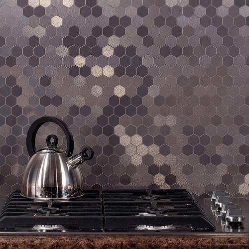stainless honeycomb backsplash