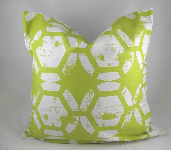 honeycomb pillow chartreuse