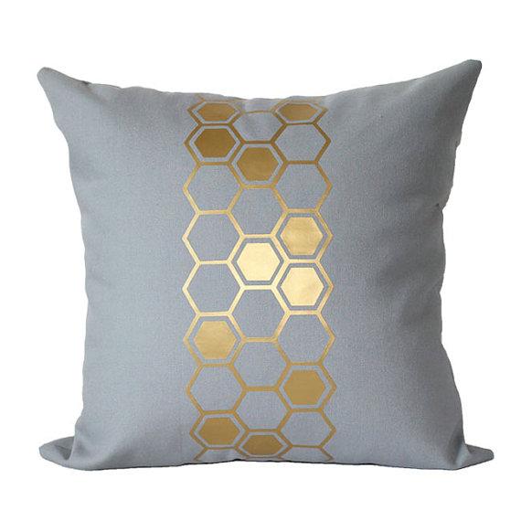 honeycomb pillow gold