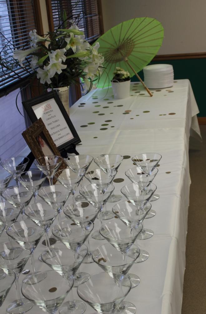Shower Martini Glasses on buffet
