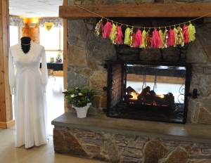 Shower Wedding Dress and Fireplace