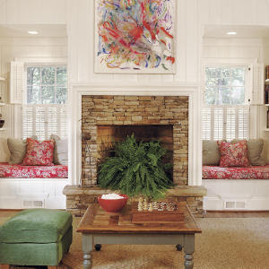 fireplace with boston fern