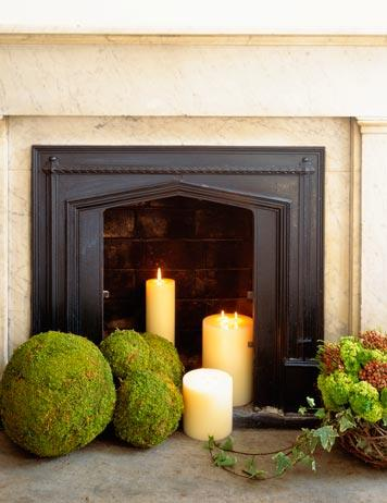 fireplace with moss balls