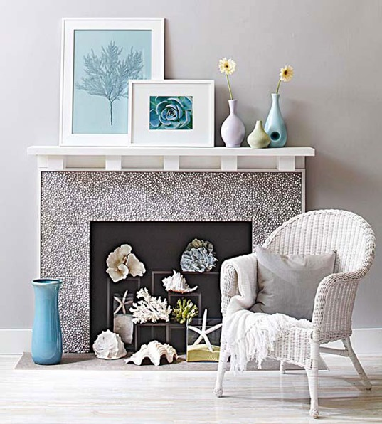 fireplace with shells