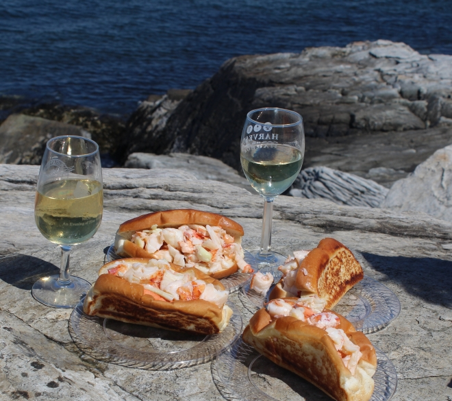 Peaks Island Lobster Rolls and wine on the rocks 2