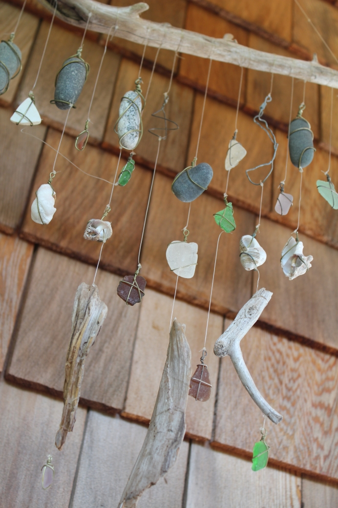 Peaks Island Mobile of driftwood, seaglass & rocks