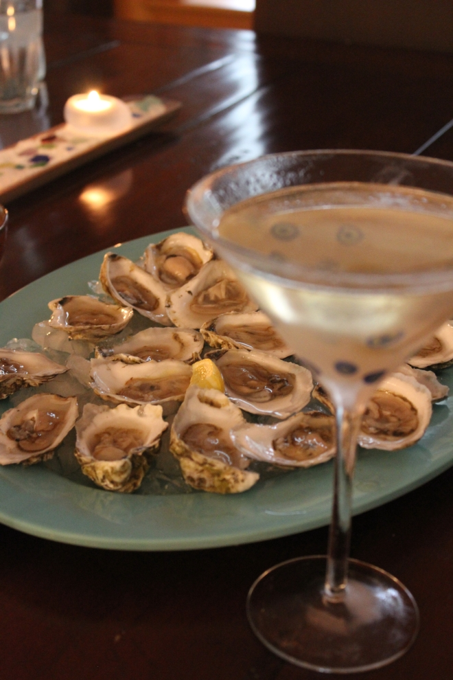 Peaks Island Oysters and Martini