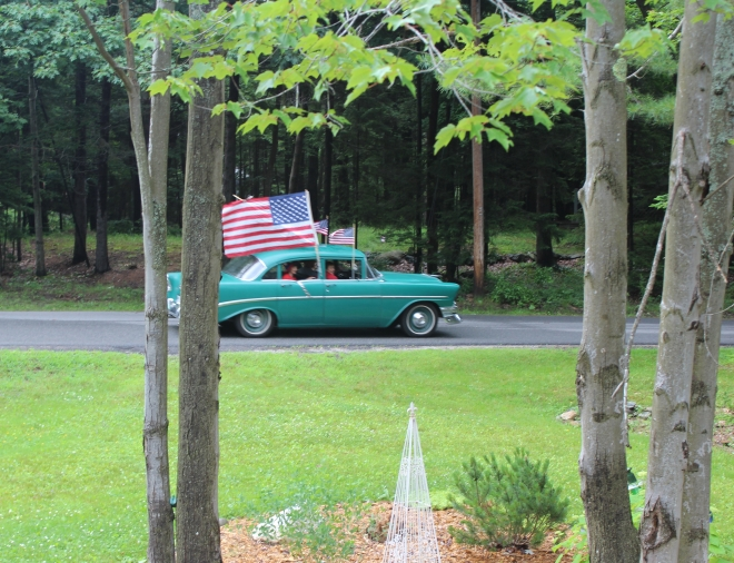 Peaks Island Parade turquoise car