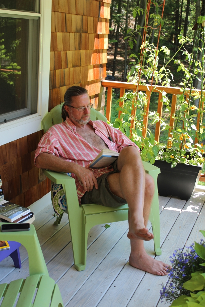 Peaks Island Phil Reading on the porch