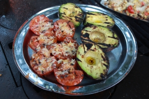 Summer Andersons grilled tomatoes and avocados