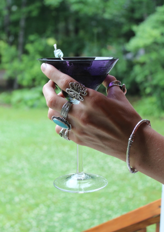 Summer Peaks Island purple martini glass