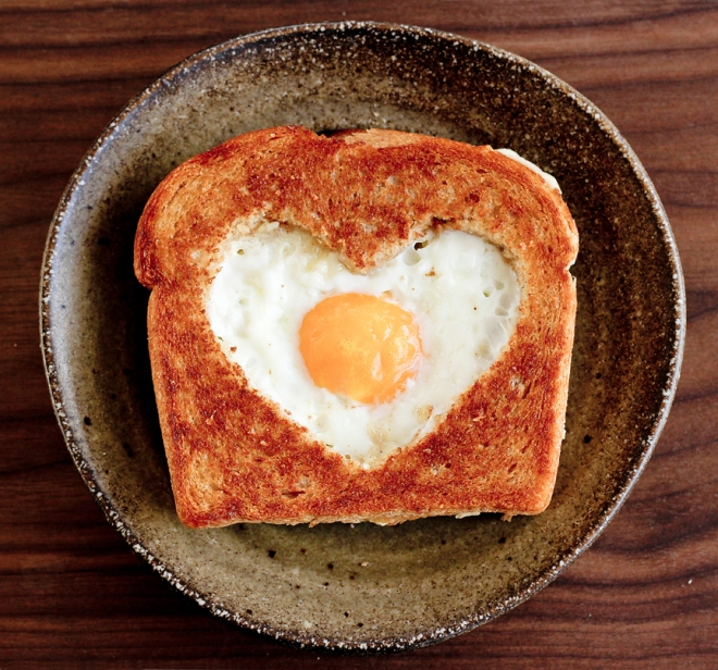 heart shaped egg in toast