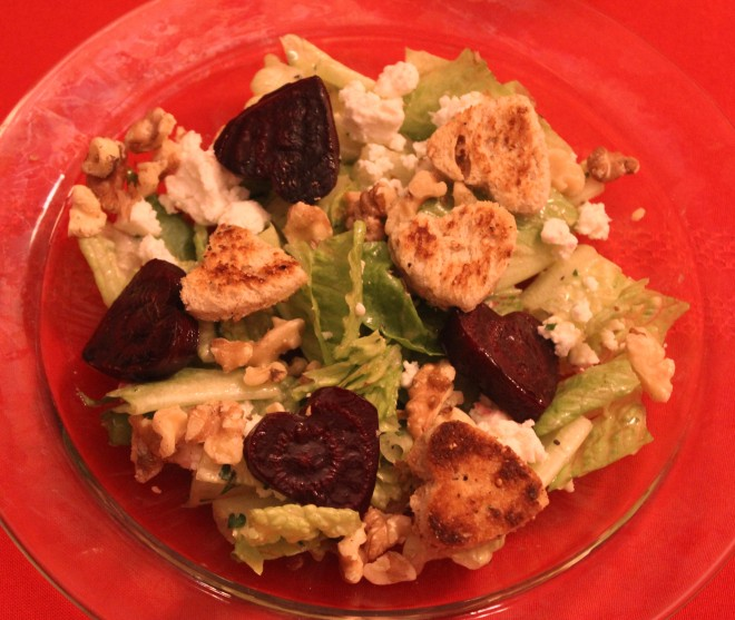 Valentines Dinner 25 Salad with Roasted Beets and Heart Shaped Croutons